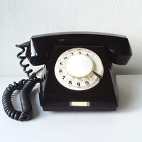 Black Rotary Telephone Vintage USSR Dial Desk phone Soviet office supply European Industrial Home Decor