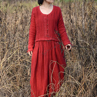 High quality thick linen dress
