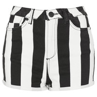 MOTO Wide Stripe Denim Hotpants - Hotshop - Collections - Topshop