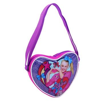 Nickelodeon Girls' Jojo Siwa Heart Shaped Crossbody Shoulder Bag, Pink, One Size