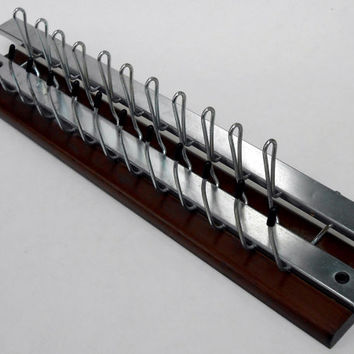 Wood and Metal Tie Rack Scarf Belt Accessory Mid Century Wall Mount Organizer