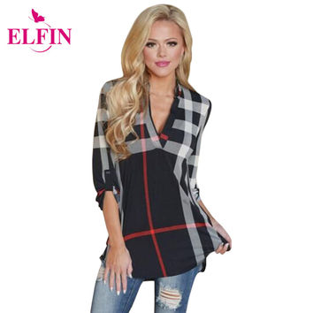 2016 Autumn Fashion Ladies Top V Neck Tops Tee Plaid Women Blouse Shirt Three-quarter Sleeve Casual Feminine Blouses LJ4950R