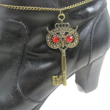 Owl Skeleton Key Boot Bracelet, Boot Anklet, Boot Accessory, Boot Jewelry, Gift Under 20