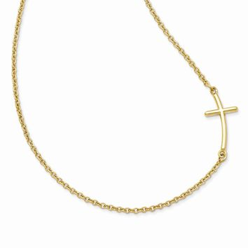 925 Sterling Silver Yellow Gold-plated Large Sideways Curved Cross Necklace