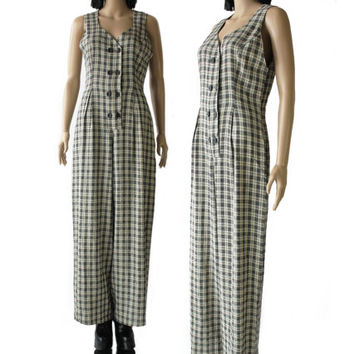 Plaid Palazzo Jumpsuit Black and White Checkered 90's Grunge Hipster Clothing Overalls Hip Hop Baggy Coveralls Made in the USA Size Medium