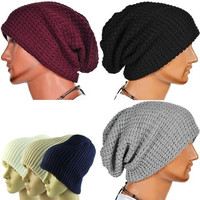 Men Knitting Slouchy Beanie Cap Baggy Warm Winter Hat [9305632391]