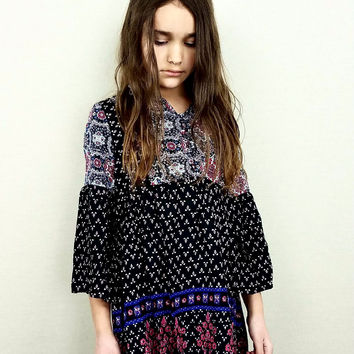 Printed Tunic Dress - Black Mix (Girls)