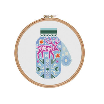 Winter mitten cross stitch, Christmas mitten cross stitch, Mitten cross stitch, Deer cross stitch, Needlepoint, Cross stitch pattern, PDF