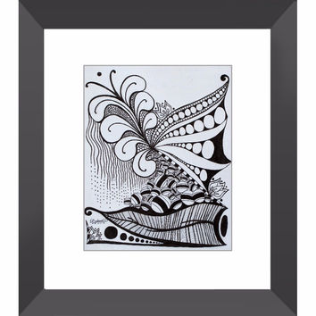 Nature Zen Doodle - Framed Print of Ink Fine Art Drawing