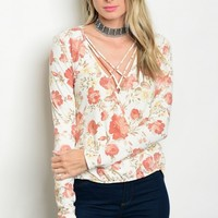 C21-B-3-T4256B IVORY RUST FLOWERS TOP 3-2-1