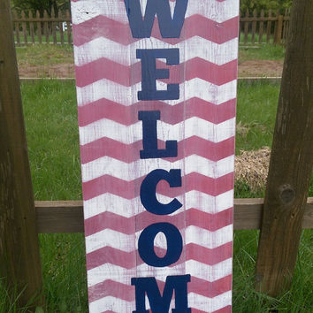 Large Distressed Chevron Patriotic Pallet Welcome Sign - Front Porch Welcome Sign - Vertical Welcome Sign