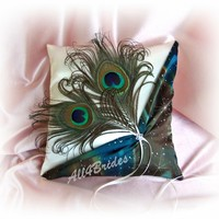 Peacock feather wedding ring bearer pillow, teal, brown, blue