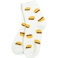 Cara Hamburger Print Socks