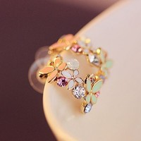 Butterfly And Flower Garden Rhinestone Fashion Earrings