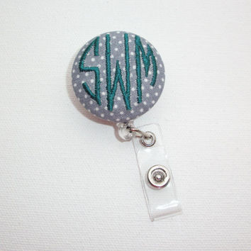 Retractable ID Badge Holder Reel - Fabric Button - white gray pin ploka dots teal aqua with monogram 3 circle initial custom