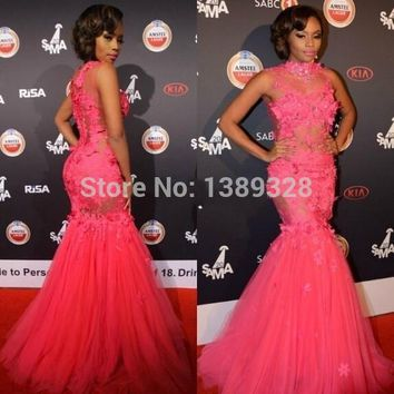 Fashin High neckline Sexy Pink Long Mermaid Prom Dress 2015 Formal Evening Party Gowns Vestido De Festa