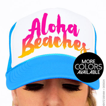 Aloha Beaches - Snapback Hat -  Trucker Hat - Black Pink and Blue Neon Hats