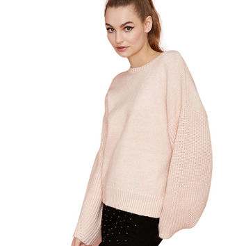 Knitted Puff Sleeve Sweater