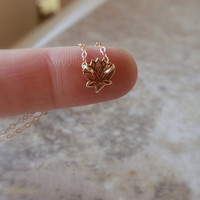Tiny Lotus Necklace - Gold Lotus Flower Charm . Tiny Gold Charm Necklace . Small Lotus Flower . Yoga Jewelry . Tiny Charm Jewelry