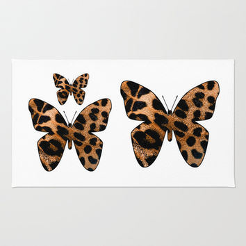 LEOPARD BUTTERFLY 2 Area & Throw Rug by Catspaws
