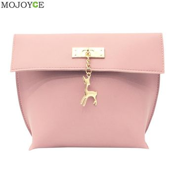 2017 New Retro Women Messenger Bags Candy Color Shell Bag Casual Leather Handbag Party Purse with Hardware deer toys