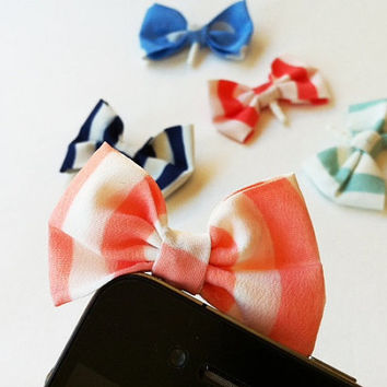 Candy Striped Fabric Bow iPhone Headphone Plug/ Dust Plug - Cellphone Accessories - 5 Color Options