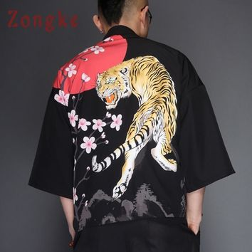 Trendy Zongke Japanese Kimono Cardigan Men Tiger Print Summer Kimono Cardigan Men Black Kimono Cardigan Long Beach 2018 Thin Jacket AT_94_13