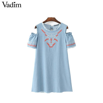 Vadim women off shoulder geometric embroidery denim dress fringe tassel back bow tie summer casual dresses vestidos QZ3048