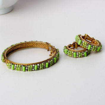 Vintage Miriam Haskell Bangle and Earring Set