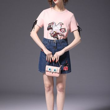 Lace Up Bird Embroidered T-Shirt