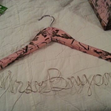 Realtree Pink Camo Handcrafted personalized wedding hangers for bride / bridesmaids.