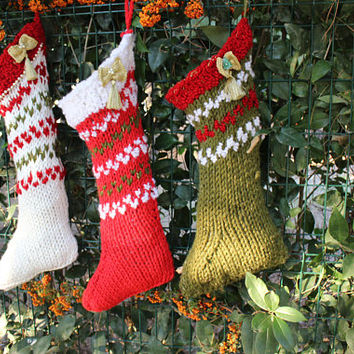 Red Knitted Christmas Stockings Hand Knit Stocking Set Bow Stockings Ready To Ship Christmas Fireplace Decor EXPRESs SHiPPinNG Via UPS