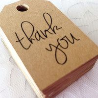 50 Kraft Thank You Favor Tags -  Hang Tags, Gift Tags, Die Cuts -  2.0X1.25 inch - Birthday, Wedding, Baby Shower