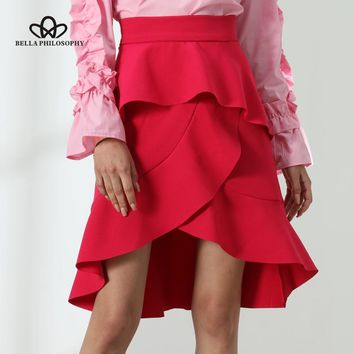 Bella Philosophy 2017 Asymmetrical skirt women summer ruffles skirt rose red irregular skirt casual layered skirt