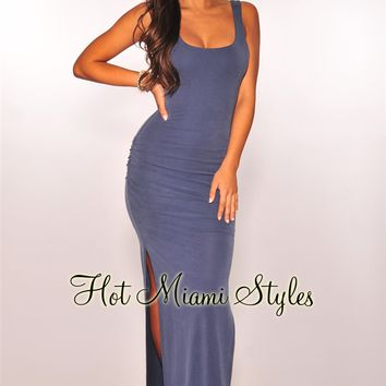 Dusty Blue Ruched Sides Slit Maxi Dress