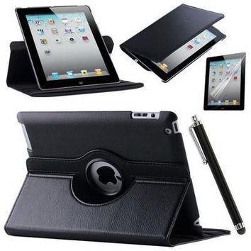 ca auguau For Case Apple iPad 2 iPad 3 iPad 4 PU Leather Smart Stand Flip Case Cover 360 Rotating Screen Protector Film Stylus Pen Gifts