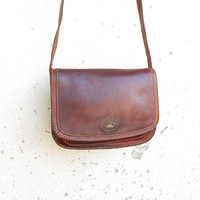 Vintage Cognac Brown THE BRIDGE 037957 Leather Purse , Crossbody , Shoulder Bag // Medium // Made in Italy