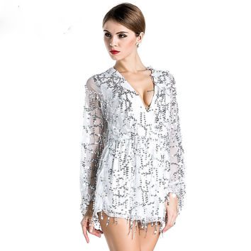 Free Shipping Missord 2015 Sexy deep v-sleeved sequined  rompers playsuits FT2800
