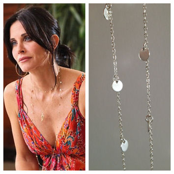 44 Inch - Courtney Cox Cougar Town Necklace -Tiny Discs Long Sterling Silver Disco Necklace - Celebrity Style