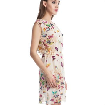 Women Summer Fashion Floral Butterfly Chiffon Party Casual Skater A-Line Mini Dress O-neck Summer Be