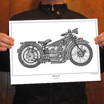 Original Drawing Print art, BMW R32, 1923 - Signed Drawing, Paper size A3: 11.5x16 in. (29 x 41 cm)