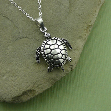 Sea Turtle Necklace with movable parts, sterling silver turtle pendant