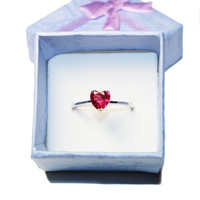 Ruby Heart Promise Ring – Cubic Zirconia Red in Box