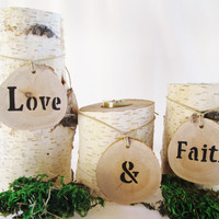 Wood Candle Holders Set of 3, Candle Holders, Love and Faith, Log Candle Holders, Wedding Candles, Reception Tables