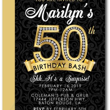 Diamond 50th Birthday Invitations