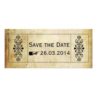 VINTAGE STYLE SAVE THE DATE WEDDING TICKET RACK CARD TEMPLATE