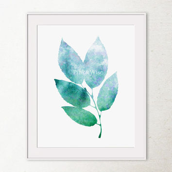 Modern nature art print, Bathroom wall art, Blue and Green art print, Leaves wall art, Leaves art print, PRINTABLE art, Bedroom wall decor