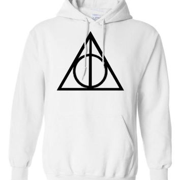 Harry Potter Triangle INSPIRED Deathly hallow PRINTED TOP HOODIE PULLOVER JUMPER - WHITE