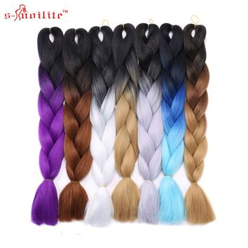 s-noilite 3piece/set Ombre Synthetic Kanekalon Braiding Hair For Crochet Jumbo Braids False Hair Extensions Xmas Gifts