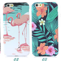 Flamingo And Florwer Embossed  Iphone 7 Se 5S 6 6S Plus Case Cover+ Nice Gift Box